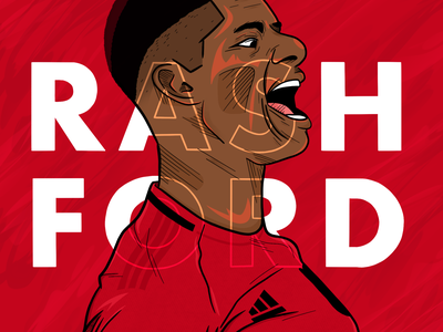 Marcus Rashford Illustration soccer procreate marcus rashford manchester united drawing ink football design illustration