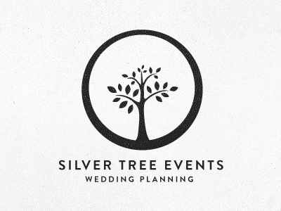 Silver Tree Events logo typography wedding tree ring