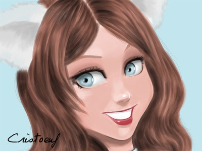 Dribbble cartoon drawing illustration digital painting girl cat