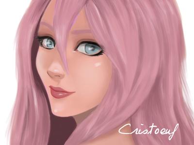 Cute Girl face portrait doll painting drawing art digital cute girl