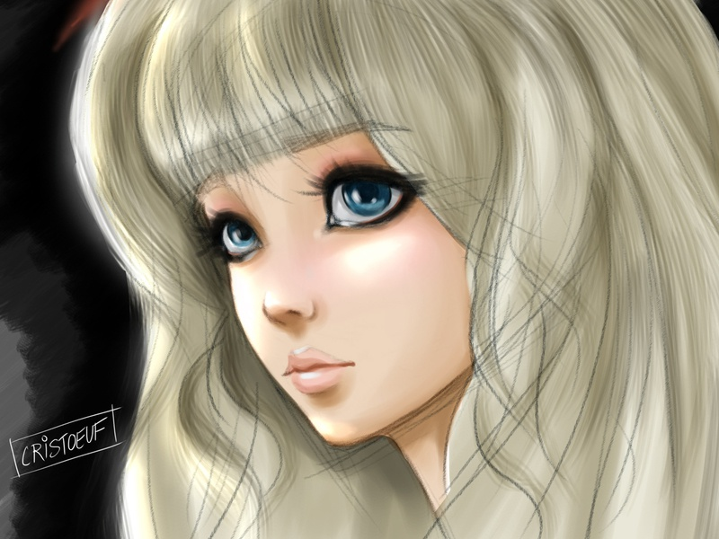 Doll Portrait girl cute sketch cristoeuf portrait drawing painting doll