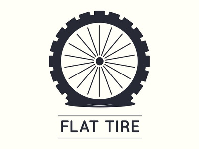Flat Tire logo design icon design logo tire flat