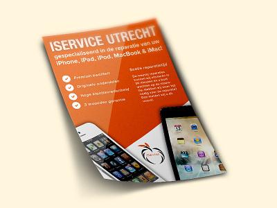 Iservice flyer design orange ipad iphone apple design flyer iservice