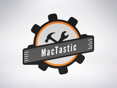 Mactastic logo orange black flat webshop repair mac mactastic design logo