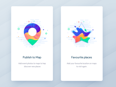 Onboarding - Events app johnyvino water vector universes transparency space illustration hexagon gradients glass drops colors