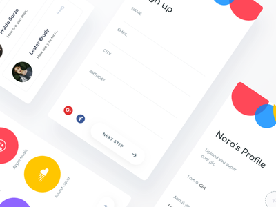 Music lover app concept johnyvino gender login signup colourful clean ux ui sketch music ios app