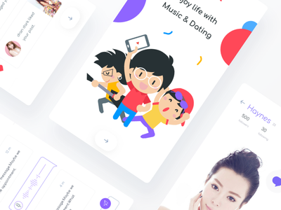Music lovers concept johnyvino ui sketch dating music login ios gender profile chat colourful clean