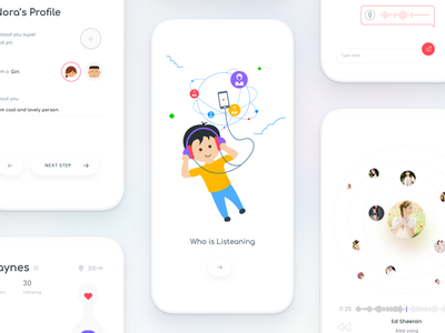 #6 Invisible series - Music dating app johnyvino ui sketch music login ios gender dating colourful clean chat app