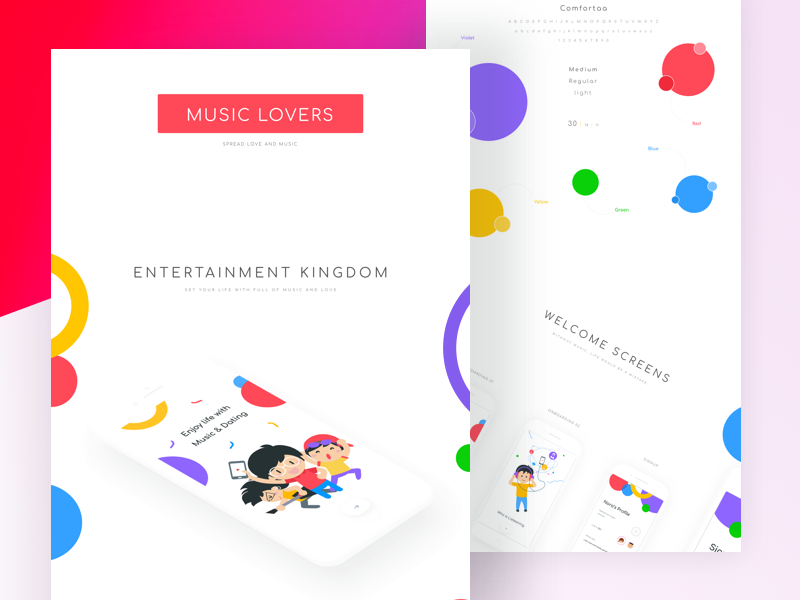 Music lovers Landing page johnyvino ui sketch music login ios gender dating colourful clean chat app