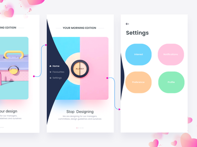 Designers News Interaction app categories colors elastic fab dribbble johnyvino news newsstand swipe ui