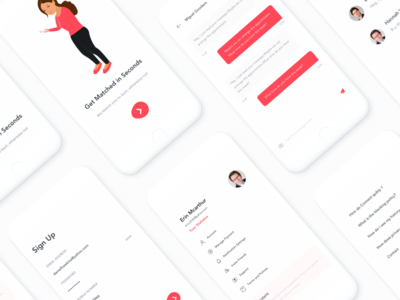 #18-Invisible-series - Personal mentor ui red minimal clean onboarding contacts message chat setting logout signup johnyvino