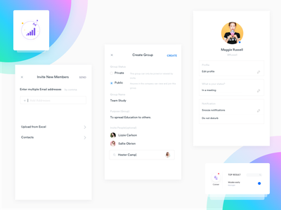 Invite and create - Groups ux ui mobile invite group corporate conference clean calling app