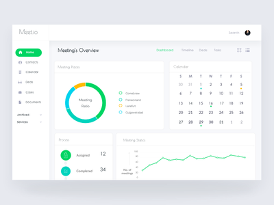 Meeting webapp web ux stats simple schedule meetings meeting interface dashboard clean cards app