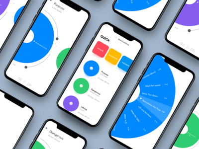 Revamped: Radial Interaction case study touch search playlist music modern mobile design material interaction clean app animated