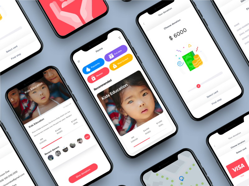 UI/UX Case Study: Charity App—Payment flow johnyvino women app watercolor vibrant ux ui type rights homepage global charity
