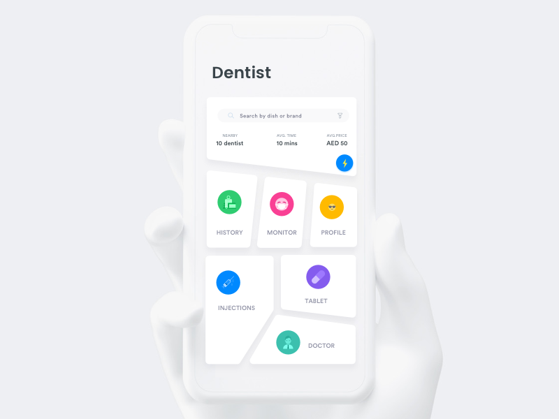Dentist - Uneven shapes iphone ios healthcare health design dental contacts business best application apple app
