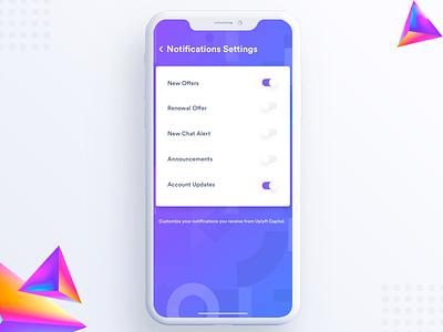 Notification settings user ui sidemenu settings profile notification mobile ios explore address account about