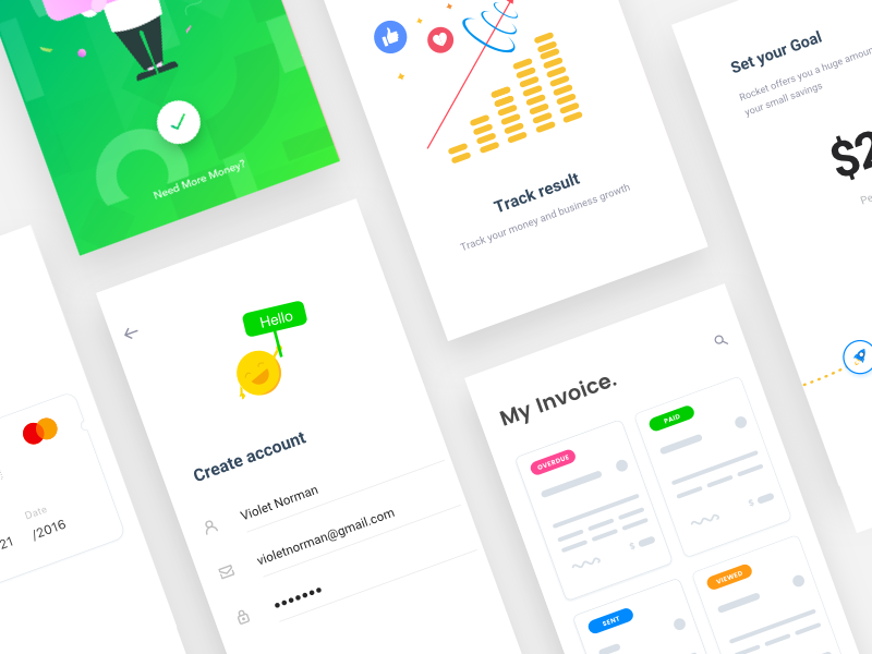 Finance app interaction collection by Johny vino™