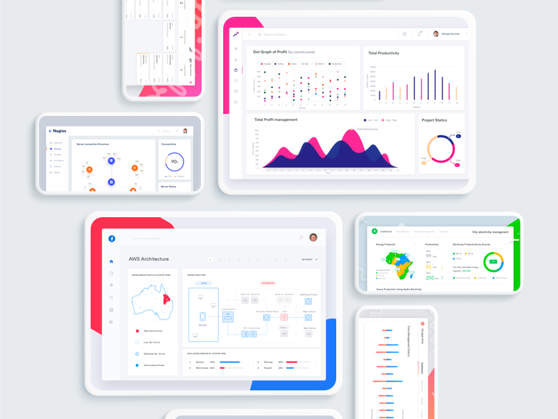 Collection of SaaS and Enterprise design software backend clean website dashboard business b2b erp enterprise web saas crm