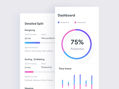 Time management app web ui managment time stacked johnyvino invoice graph freelancer barchart app