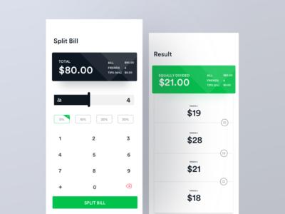 Split Bill concept split bill tips calculator app unequal microinteraction equal ux ui