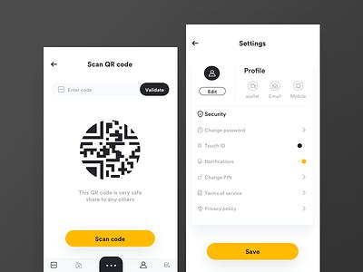 Blockchain app QR scan and setting tech onepage landing illustration google ethereum crypto bitcoin finance ledger distributed blockchain