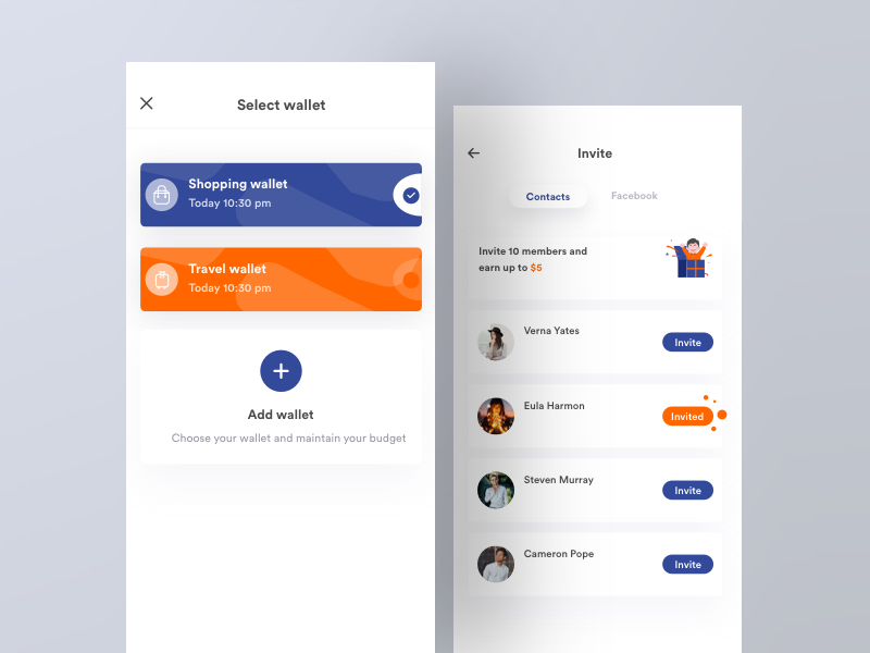 Select wallet and Invite web principle iphone minimal interface interaction design clean mobile ios app johnyvino ux ui illustration dashboard wallet cryptocurrency blockchain animation