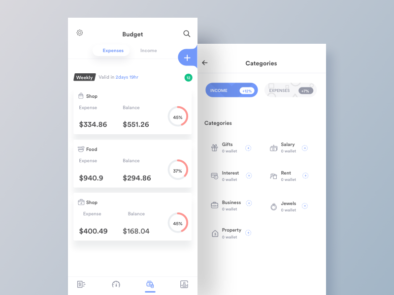 Budget And Categories web ui token page landing ico design currency crypto cash blockchain bitcoin