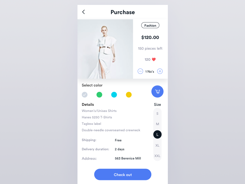 Fashion purchase ios ux ui card fashion buy purchase cart shop