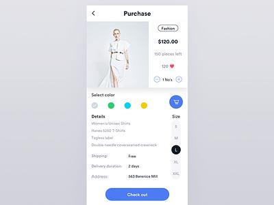 Fashion purchase ios ux ui card fashion buy purchase cart shop