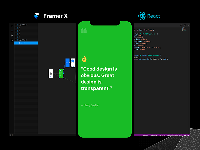Design Quotes app [Framer X + React] tool store react mac interactive x framer design components app animations