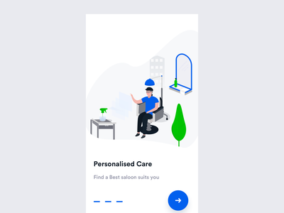 Personalised Care flat interface minimal branding logo icon illustration booking personalized saloon hair care design clean ux mobile ios johnyvino app ui