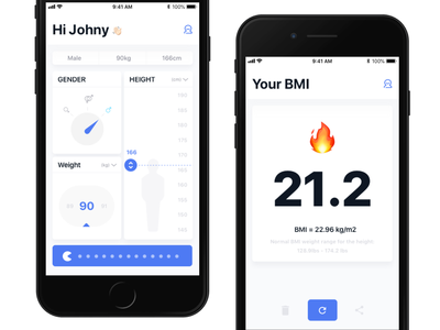 Your BMI interface ios ui johnyvino ux clean animation mobile develop flutter health app app medical dia de muertos diabetes height weight loss weight health bmi