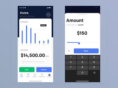 Send Money iphone minimal interface dashboard interaction design animation clean mobile ios app ux johnyvino money app money slider sendgrid budget send money send