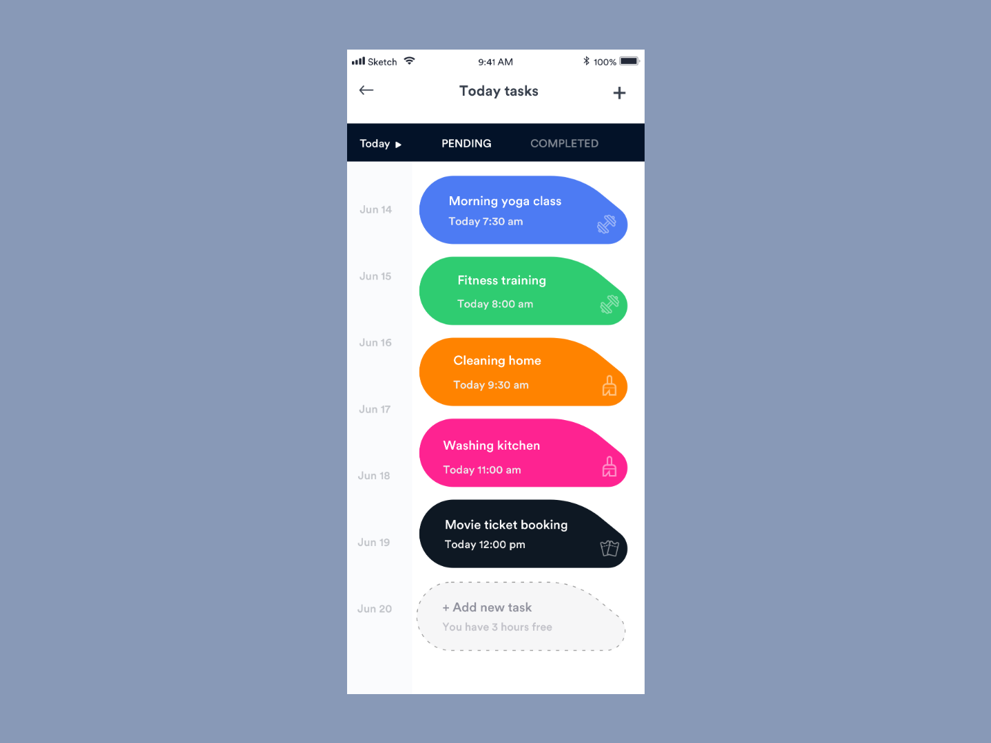 Today Tasks clean mobile ios ux ui johnyvino time machine today completed pending icon color app todo list todolist todo app todoist todo management time