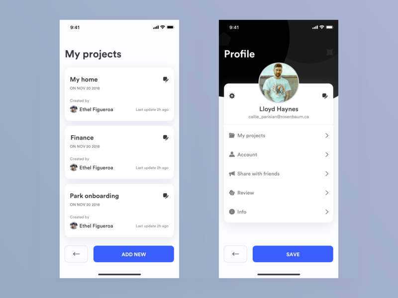 Projects and Profile iphone minimal dashboard design animation clean mobile ios ux app johnyvino project 52 project management pro resume pro create pro bono project pro profile projects