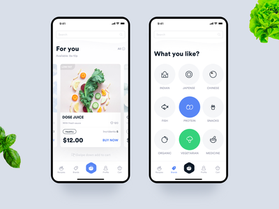 Greeny app interface dashboard interaction animation clean mobile ios ux ui app food and beverage bottom menu bar search cards menu indian green dishes food