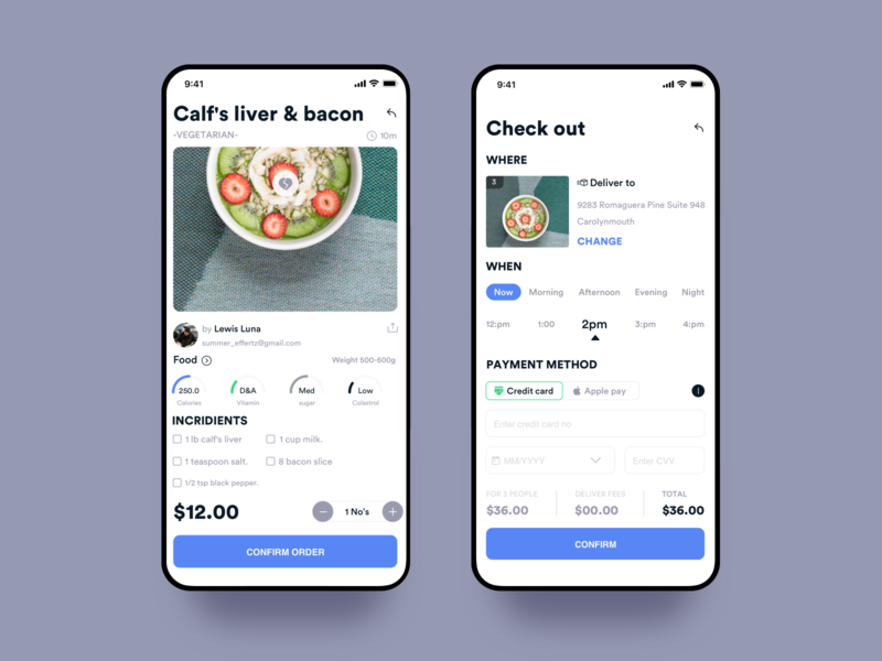 Food Details And Delivery Schedule clean ui time lapse payment charrges deleivery credit card design interaction food and beverage calories calcio time food mobile ios ux app johnyvino