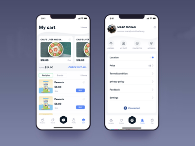 My cart And Profile dashboard design ios app mobile clean profesional check box creditcard foodapp pizza order food location ui johnyvino check setiing profile cart