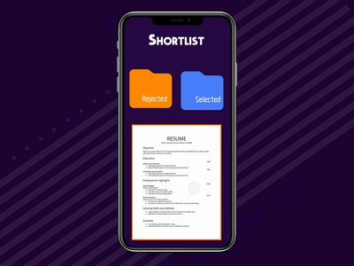 Resume - Shortlister gif interface design interaction animation clean mobile ios ux ui app johnyvino resolve resume creative resume builder results resume bundle result resume clean resume