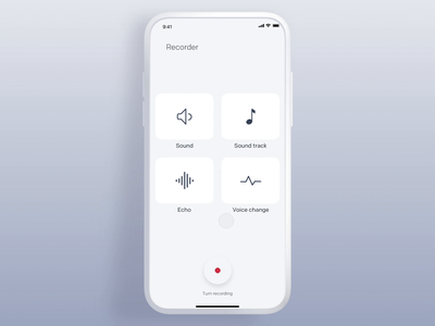 Composer - Voice Recording maker mixer track voice change echo sound interface gif design interaction animation clean mobile ios ux ui app johnyvino composer compose