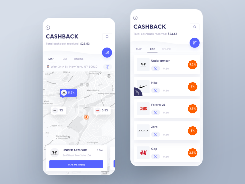 Cashback chase amount total navigation filter discount map cashew cashback cash interface interaction animation clean mobile ios ux ui app johnyvino