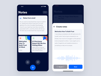 Audio Notes gif minimal interface dashboard design interaction animation clean mobile ios ux ui johnyvino app audio player audiobooks audio app audiobook notes audio