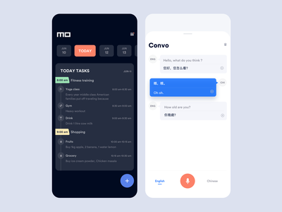 Todo and Translator design dashboard interaction animation clean mobile ios ux ui translation translate todo app todo list todolist todoist translator todo todo and translator app johnyvino