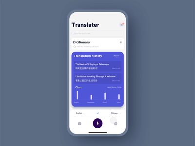 Speak & Translate - Translator of dialogues language school languages language learning language dialogues interaction animation clean mobile ux ui app johnyvino translator