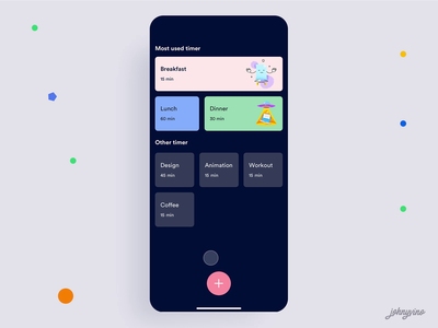 Create your own quick timer breakfast name select coffee remind reminder app reminders reminder animation clean mobile ios ux ui app johnyvino quickie timers timer quick