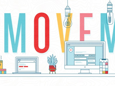 Movement Wall Wrap design studio office space wall wall wrap line art illustration typography