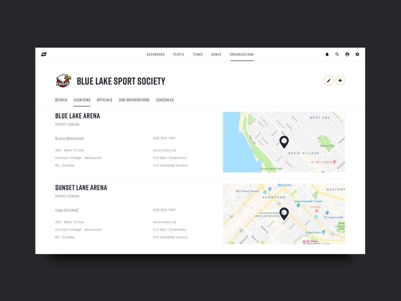 Sportninja Location Page dashboard interface webinterface webdesign webapp app design website user interface ux ui