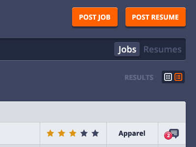 Search bar filter & results toggle