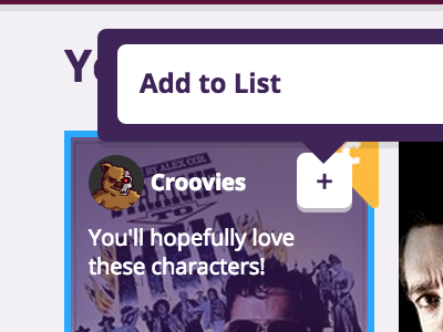 Croovies - movie hover state, add to list tooltip popup hover